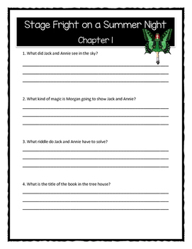 Magic Tree House STAGE FRIGHT ON A SUMMER NIGHT Comprehension & Citing Evidence