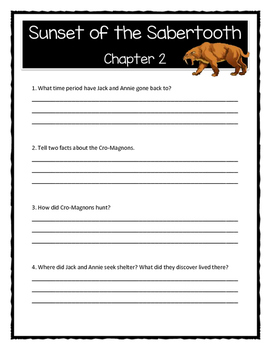 Magic Tree House SUNSET OF THE SABERTOOTH Comprehension & Citing Evidence