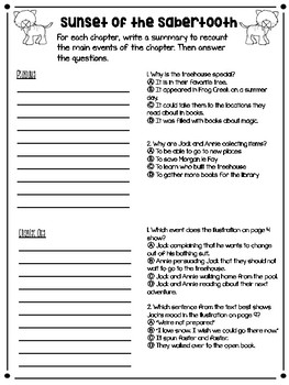 Magic Tree House: Sunset of the Sabertooth: Novel Study Comprehension Questions