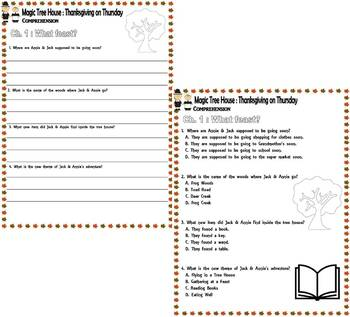 Magic Tree House Thanksgiving on Thursday Reading Comprehension Multiple Choice