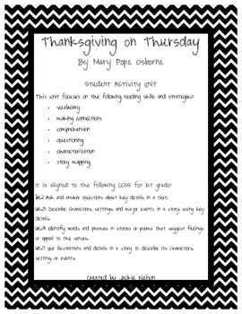 Magic Tree House Thanksgiving on Thursday Student Activity Unit