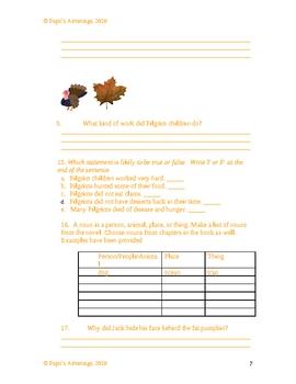 Magic Tree House  Thanksgiving on Thursday Worksheet and Novel Study