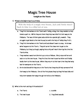 Test Questions: Magic Tree House- Tonight on the Titanic