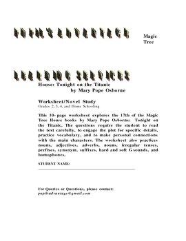 Magic Tree House: Tonight on the Titanic Worksheet and Novel Study