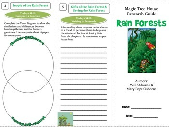 Rain Forests Foldable Novel Study Unit