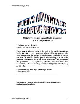 Magic Tree House Viking Ships at Sunrise Novel Study and Worksheet