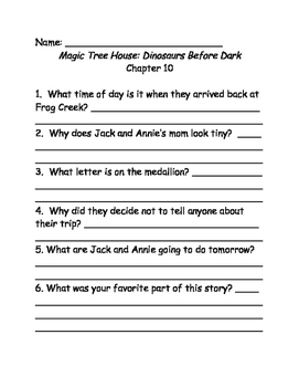 Magic Tree House comprehension questions Books 1-10
