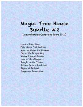 Magic Tree House comprehension questions Books 11-20