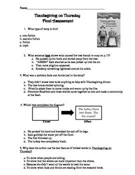 Magic Tree HouseThanksgiving on Thursday Final Assessment - Common Core Aligned