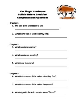 Magic Treehouse Buffalo Before Breakfast Comprehension Questions