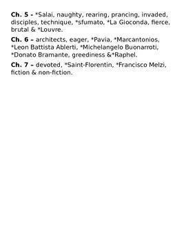 Magic Treehouse - Fact Tracker - Leonardo da Vinci - Vocabulary List