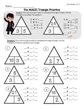 Magic Triangle Fact Family - Fact Fluency Mini Bundle - 1, 2, 3