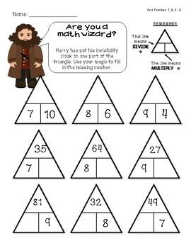 Magic Triangle Fact Family - Fact Fluency Mini Bundle - 7, 8, 9