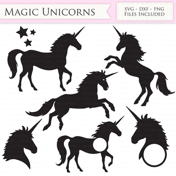 Magic Unicorns SVG Files - Jumping Unicorns, Unicorn head monogram cut files