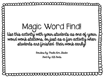 Magic Word Find FREEBIE