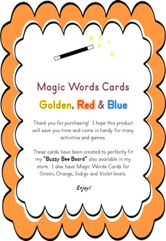 Magic Words Cards Golden Red Blue