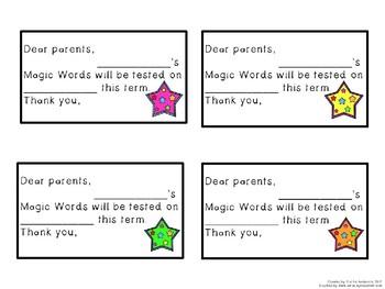 Magic Words Reading & Spelling Testing Timetable + Parent Letter Editable