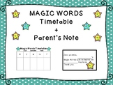 Magic Words Reading & Spelling Testing Timetable + Parent