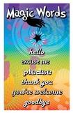 "Magic Words class poster, 8.5"" by 11"", Rainbow Splash Series"