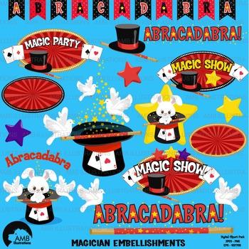 Magic clipart, Magician Show clipart, Magic embellishments, Vectors, AMB-1194