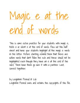 """Magic """"e"""""""