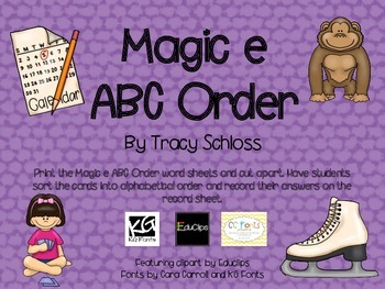 Magic e  ABC order,
