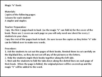 "Magic ""e"" Flip Book and Word Work"