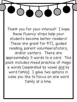 First Grade Phonics: Silent e Fluency Strips