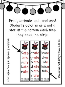 First Grade Phonics: Silent e Fluency Strips