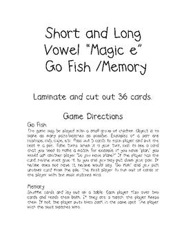 """Magic e"" Go Fish/Memory"
