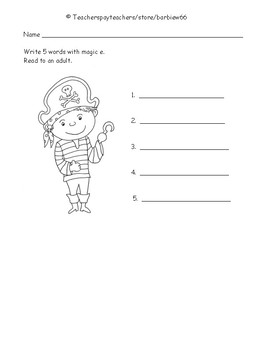 Magic e Worksheets:  Silent e Activity Sheets:  6 sets Highlight, Read, Write