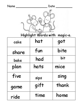Magic e Worksheets:  Silent e Activity Sheets:  6 sets Highlight, Read, Write
