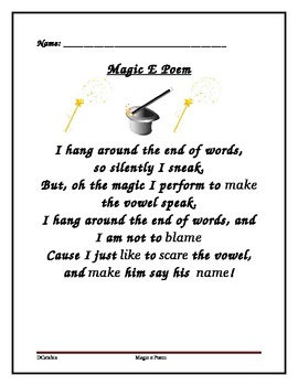 Magic e Poem-Silent e Rule by For the Love of Literacy   Teachers ...