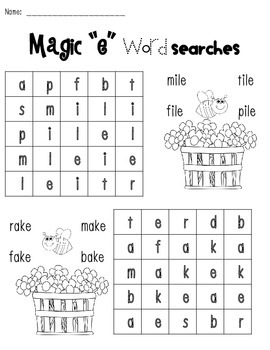 Magic e Word Search Freebie