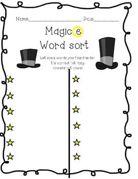 "Magic ""e"" Word Sort"
