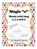 """Magic """"e"""": Words with Long a, i, o and u"""