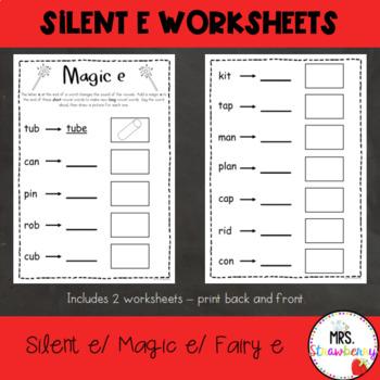 Magic e {Fairy e} Silent e Worksheet
