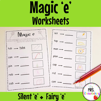 Silent E Worksheets Magic E Worksheets By Mrs Strawberry Tpt