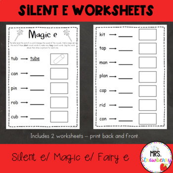 Silent e Worksheets| Magic e Worksheets by Mrs Strawberry | TpT