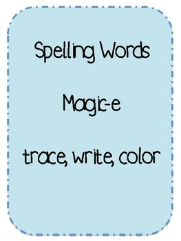 Magic-e spelling words and worksheet