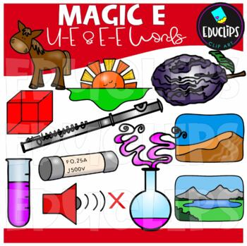 Magic e - u_e & e_e Clip Art Bundle {Educlips Clipart}