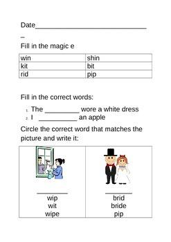 Magic e worksheet