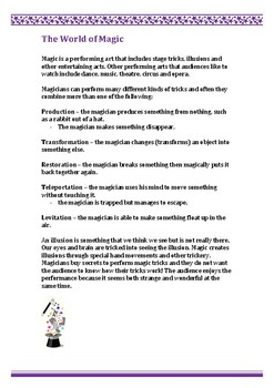 Magic handouts and activity