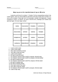Magic square on Spanish imperfect tense of regular AR-verbs no prep practice