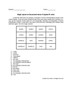 Magic square on Spanish regular IR-verb conjugation no prep practice