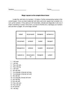 Magic square on Spanish simple future tense no prep practice