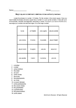 Magic square on definite&indefinite articles and family members Italian