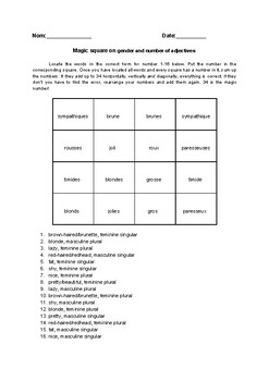 French gender and number of adjectives magic square fun no prep worksheet