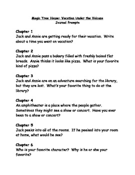 Magic tree House #13 Vacation Under the Volcano comprehension Questions