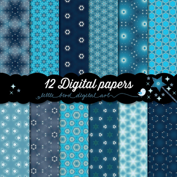 Magical Blue - 12 Digital Papers